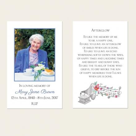 Funeral Memorial Cards - Music & Flowers