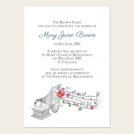 Funeral Announcement Cards - Music & Flowers