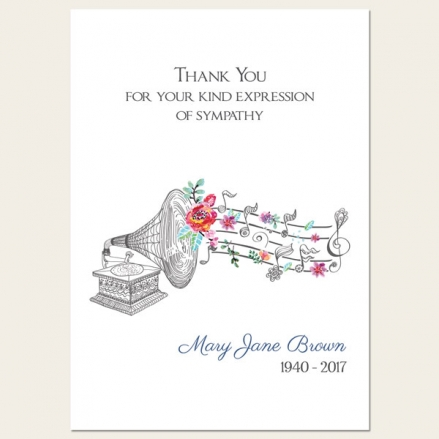 Funeral Thank You Cards - Music & Flowers