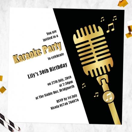 Birthday Invitations - Karaoke Party