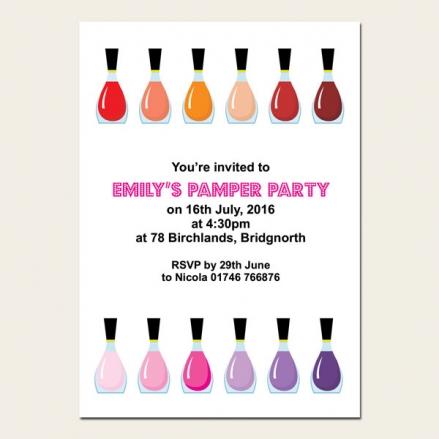 Personalised Kids Birthday Invitations - Nail Varnish - Pack of 10