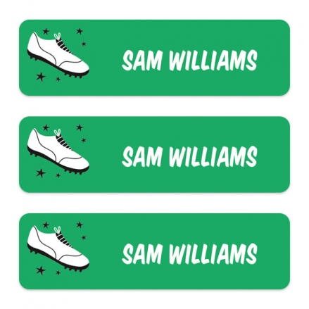 Medium-Personalised-Stick-On-Waterproof-(Equipment)-Name-Labels-Football-Crazy-Boot-Pack-of-42