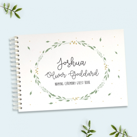Boys Foliage Wreath - Naming Ceremony Guest Book