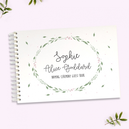 Girls-Foliage-Wreath-Naming-Ceremony-Guest-Book