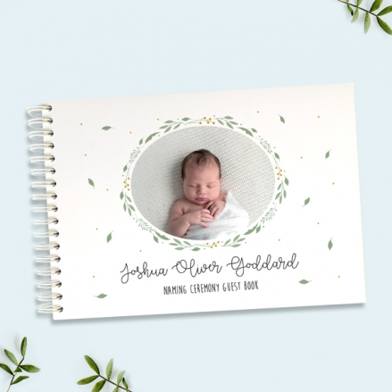 Boys Foliage Wreath - Naming Ceremony Guest Book - Use Your Own Photo