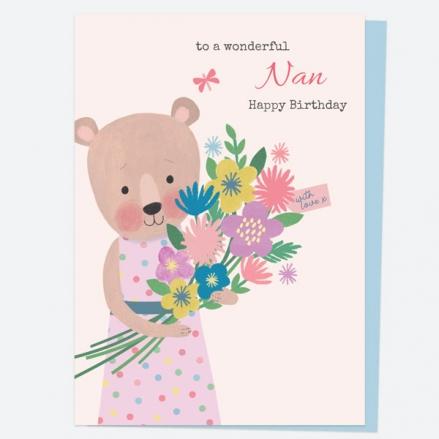 Nan Birthday Card - Dotty Bear - Bouquet - Happy Birthday Nan