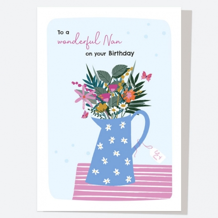 Nan Birthday Card - Pretty Wildflowers - Jug - Wonderful Nan