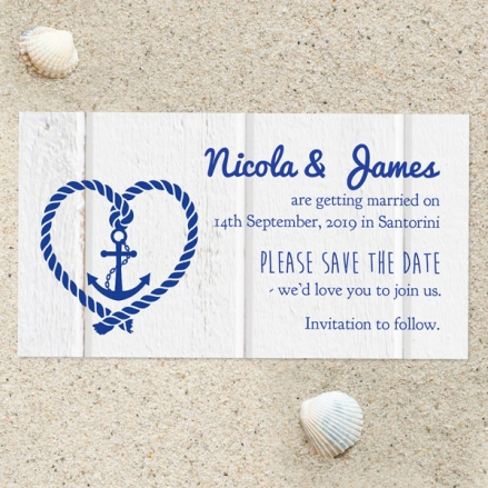 Nautical Heart & Anchor - Save the Date Magnets