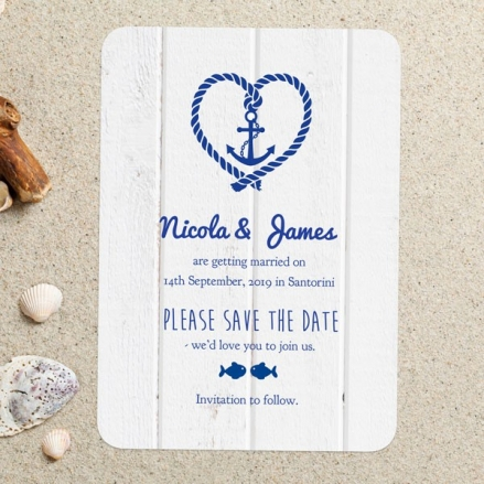 Nautical Heart & Anchor - Save the Date Cards