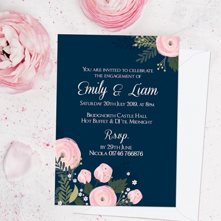 Engagement Party Invitations - Navy and Pink Floral
