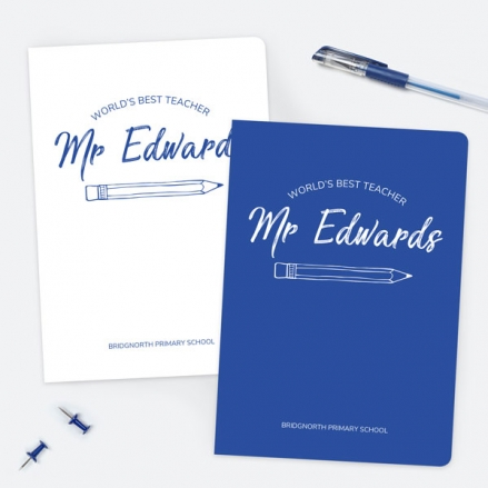 Neat Pencil - Blue - Personalised A5 Exercise Books - Pack of 2