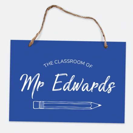 Neat Pencil - Blue - A5 Personalised Teacher Sign