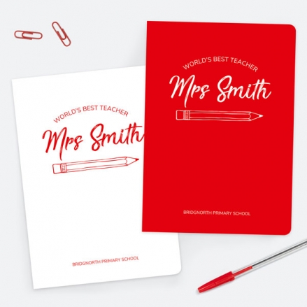 Neat Pencil - Red - Personalised A5 Exercise Books - Pack of 2