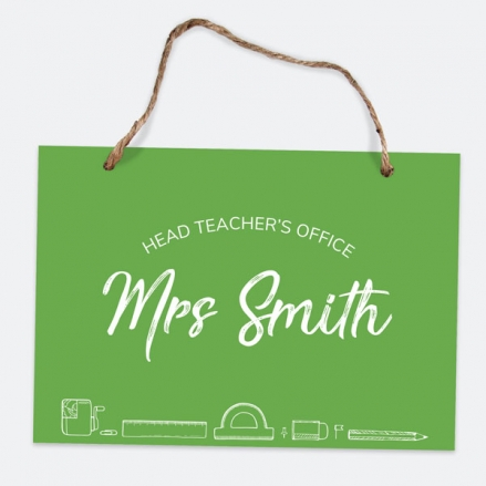 Neat Stationery Collage - Green - A5 Personalised Teacher Sign