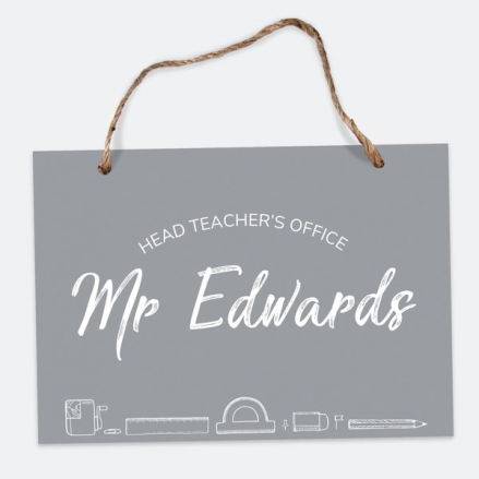 Neat Stationery Collage - Grey - A5 Personalised Teacher Sign