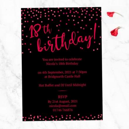 18th Birthday Invitations - Neon Confetti Typography