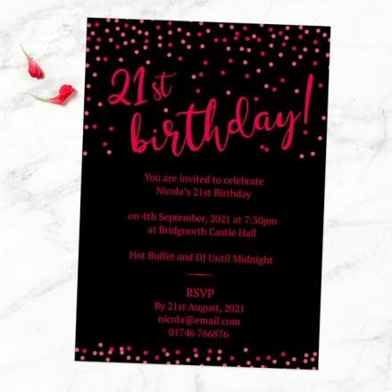 21st Birthday Invitations - Neon Confetti Typography