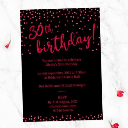 30th Birthday Invitations - Neon Confetti Typography