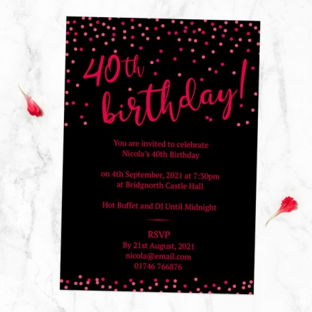 40th Birthday Invitations - Neon Confetti Typography