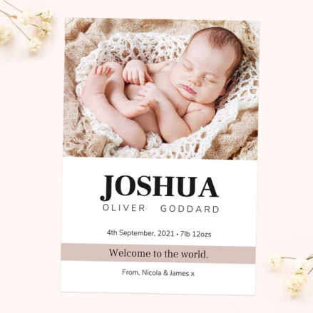 Baby Announcement Cards - Neutral Photo Typography - Pack of 10