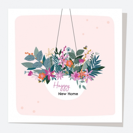 New Home Card - Pretty Wildflowers - Hanging Basket - New Home