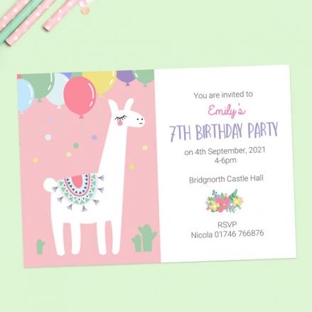 Kids Birthday Invitations - Ooh La Llama - Pack of 10
