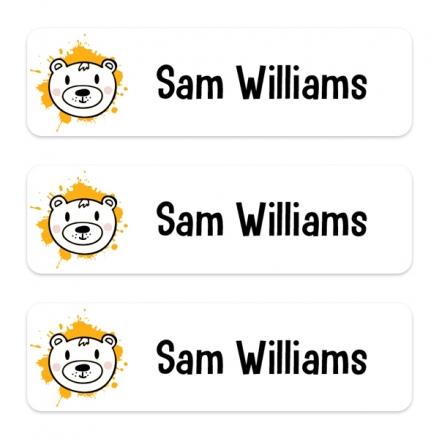 Medium Personalised Stick On Waterproof (Equipment) Name Labels - Orange Bear Splash - Pack of 42