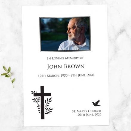 Funeral Order of Service - Cross & Flying Bird Photo