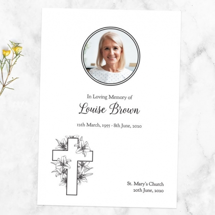 Funeral Order of Service - Cross & Lilies Photo