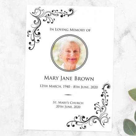 Funeral Order of Service - Elegant Scrolls Photo