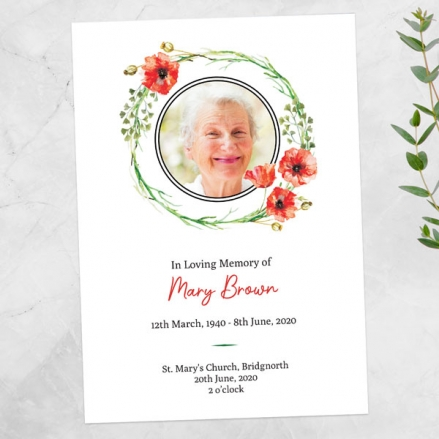 Funeral-Order-of-Service-Poppy-Garland-Photo
