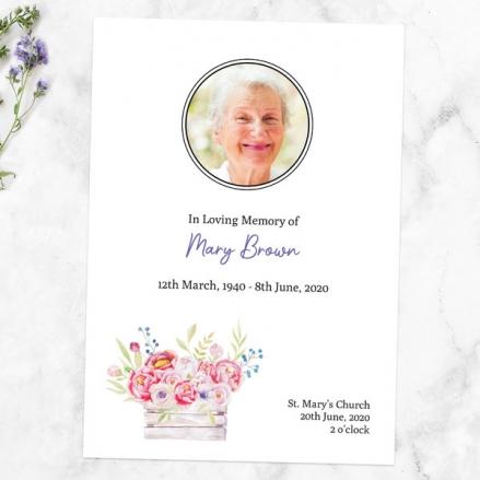 Funeral Order of Service - Vintage Garden Flowers Photo