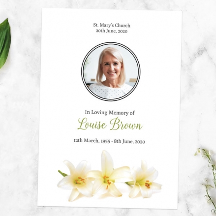 Funeral-Order-of-Service-White-Lilies-Photo
