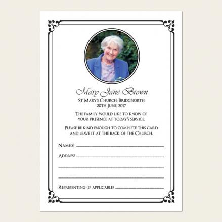 Funeral Attendance Cards - Ornate Border