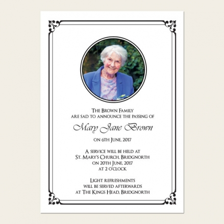 Funeral Announcement Cards - Ornate Border