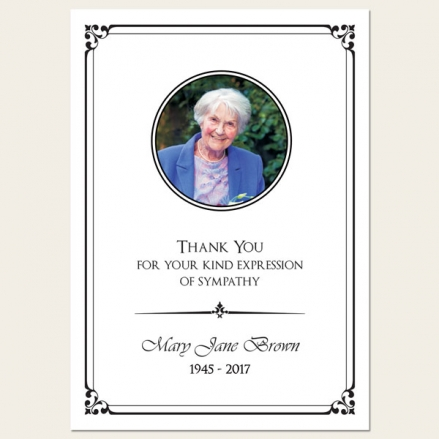 Funeral Thank You Cards - Ornate Border