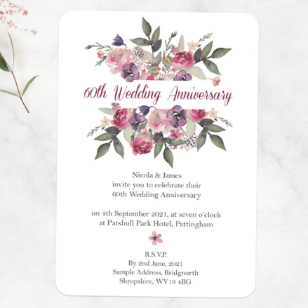 60th Wedding Anniversary Invitations - Painted Flowers