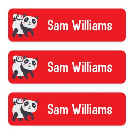 Medium Personalised Stick On Waterproof (Equipment) Name Labels - Panda - Pack of 42