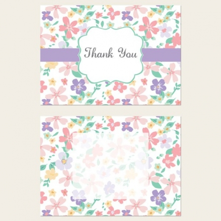 Ready to Write Thank You Cards - Pastel Flowers