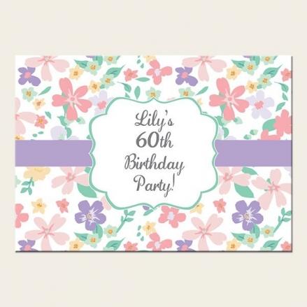 60th Birthday Invitations - Pastel Flowers