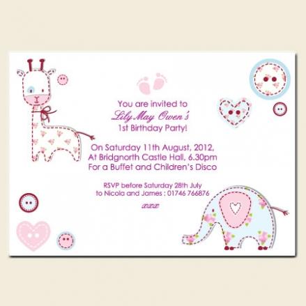 1st Birthday Invitations - Pastel Patchwork