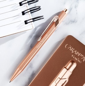 personalised-caran-dache-ballpoint-pen-and-tin-rose-gold