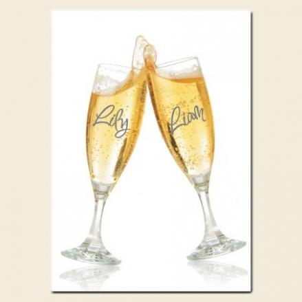 60th Wedding Anniversary Invitations - Personalised Champagne Glasses