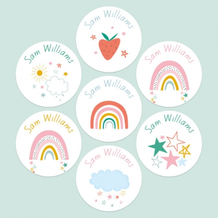 Chasing-Rainbows-Personalised-Kids-Stickers-Pack-of-35