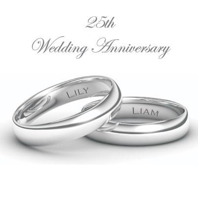 25th Wedding Anniversary Invitations - Personalised Silver Rings