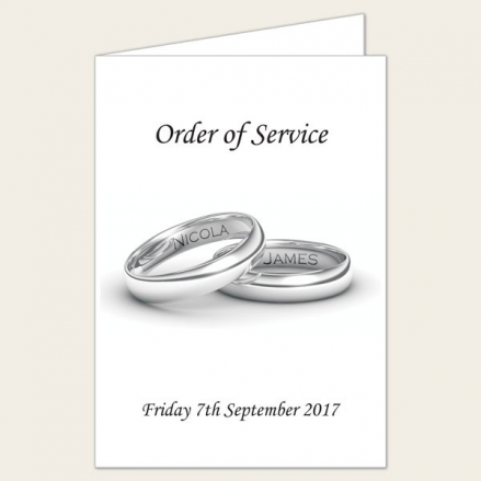Add Your Names Silver Rings - Wedding Order of Service