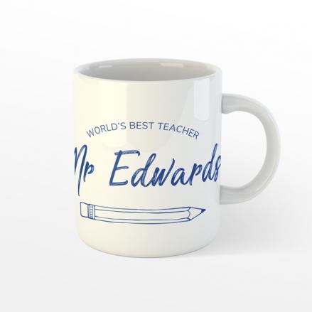 Personalised Teacher Mug - Neat Pencil - Blue