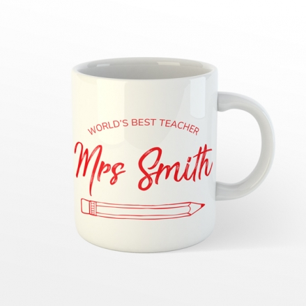 Personalised Teacher Mug - Neat Pencil - Red