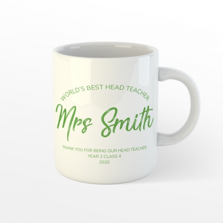 Personalised Teacher Mug - Neat Stationery Collage - Green