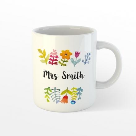 Personalised Teacher Mug - Pretty Bright Flowers